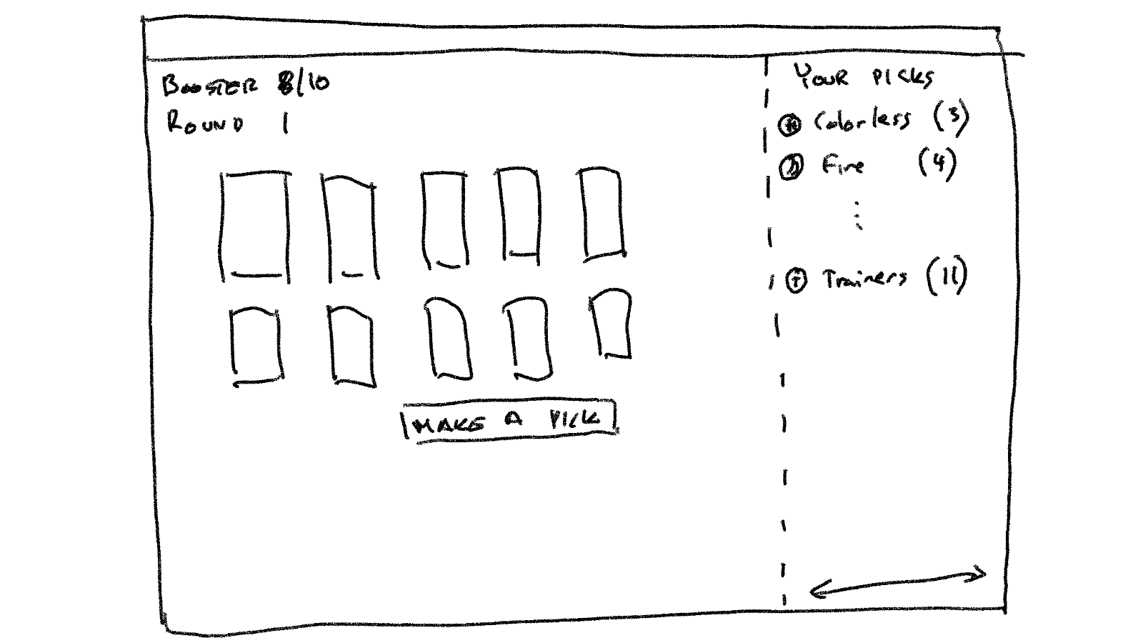 Wireframe for drafting process