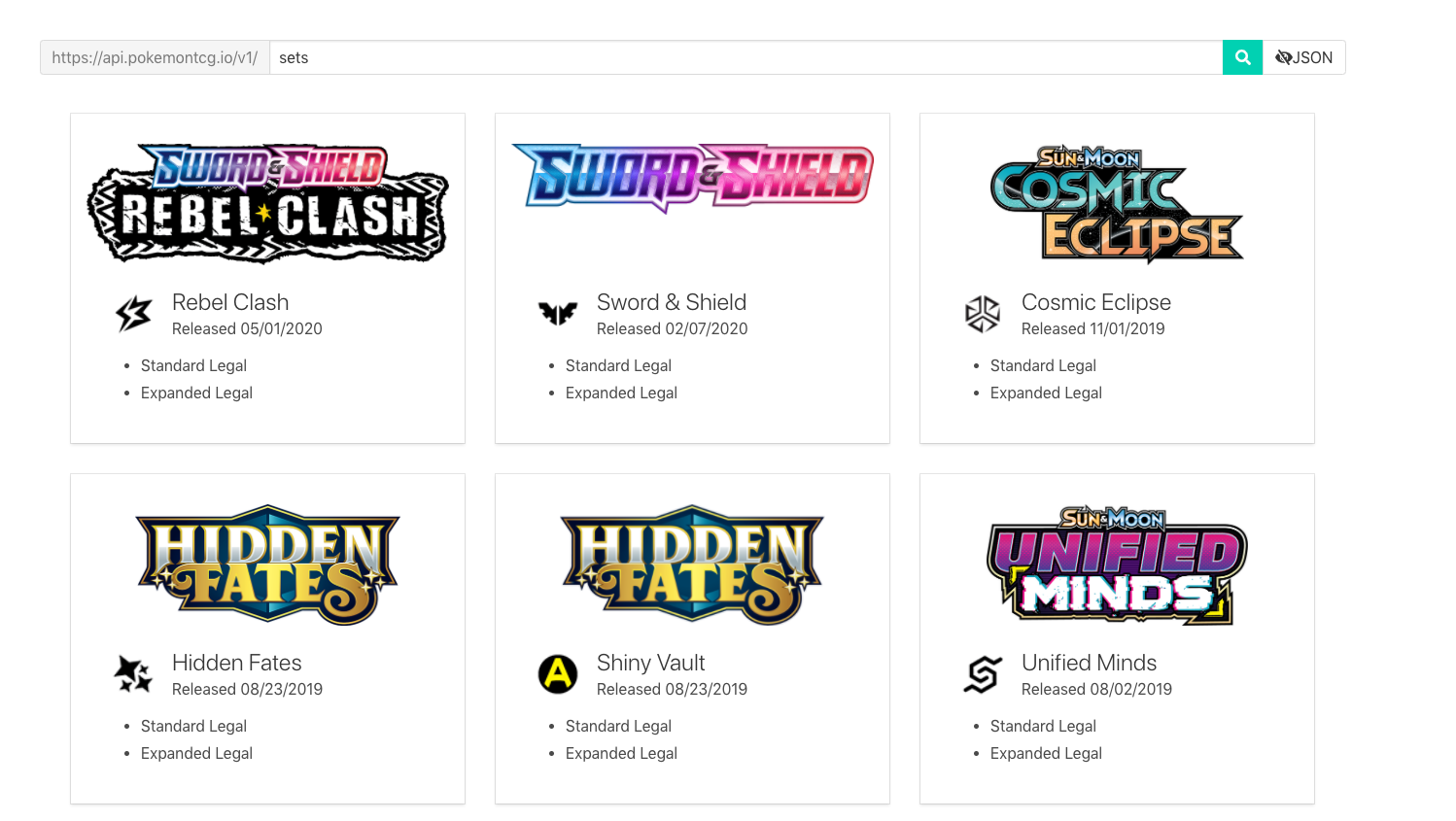 Screenshot of PokemonTCG.io page listing information of published card sets