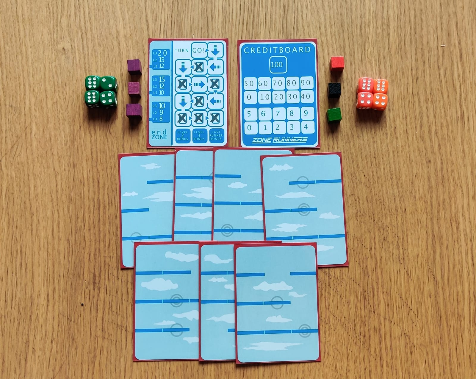 cards, cubes and dice