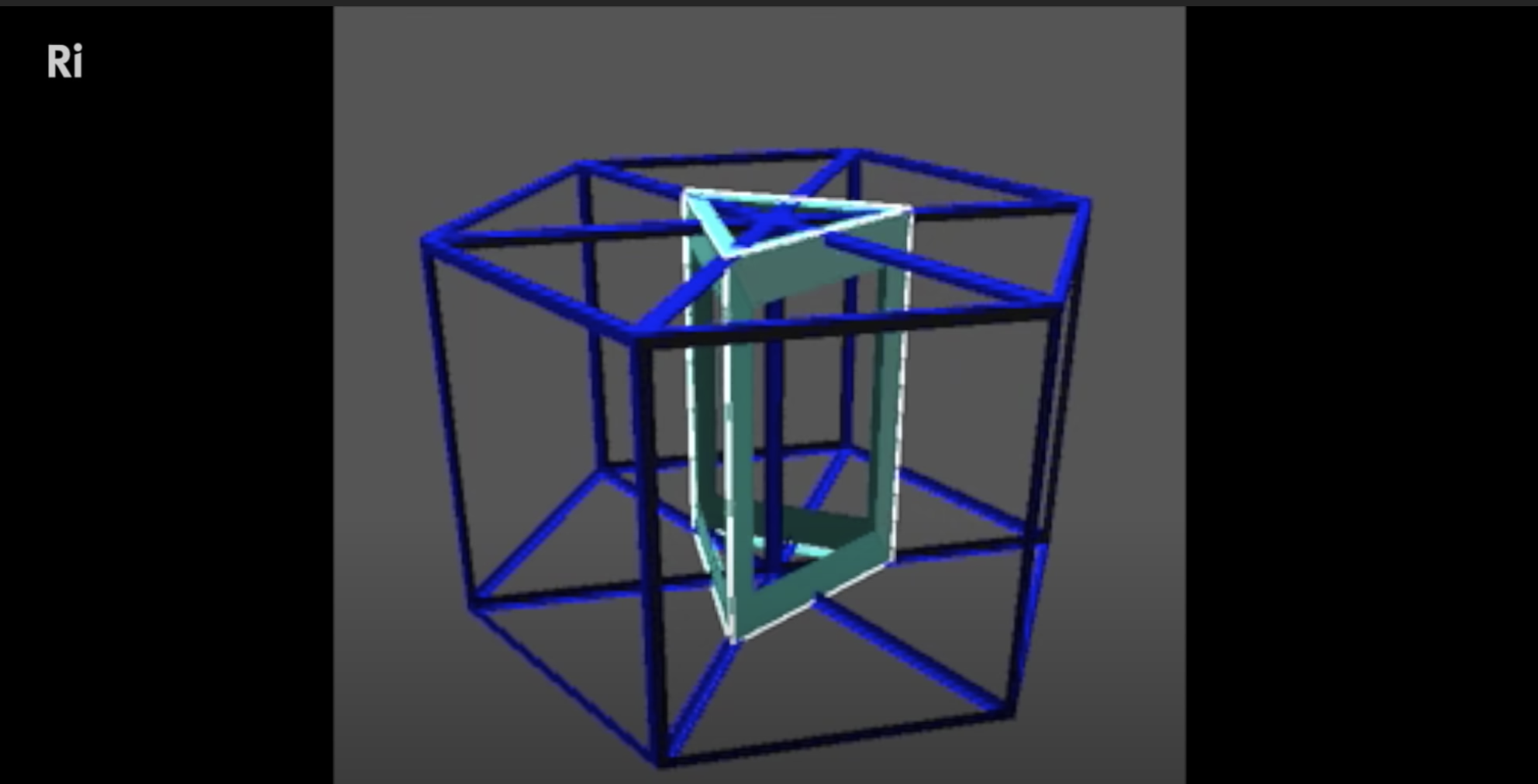 A computer rendering of a 4D object passing through 3D world.
