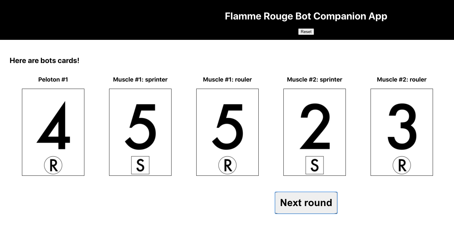 Flamme Rouge Bot Companion web app showing cards 4, 5, 5, 2 and 3