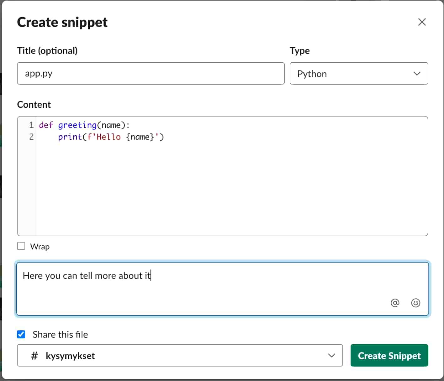 Slack's Code Snippet modal with example Python code
