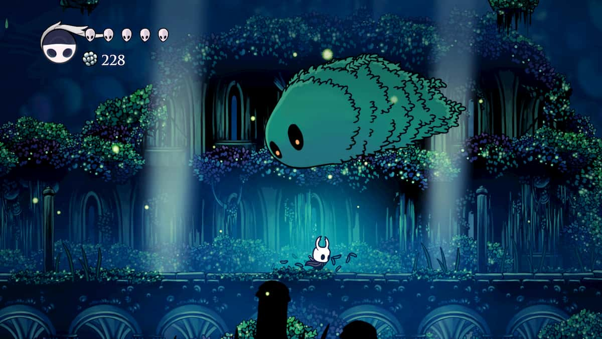 Moss Charger jumping over Hollow Knight
