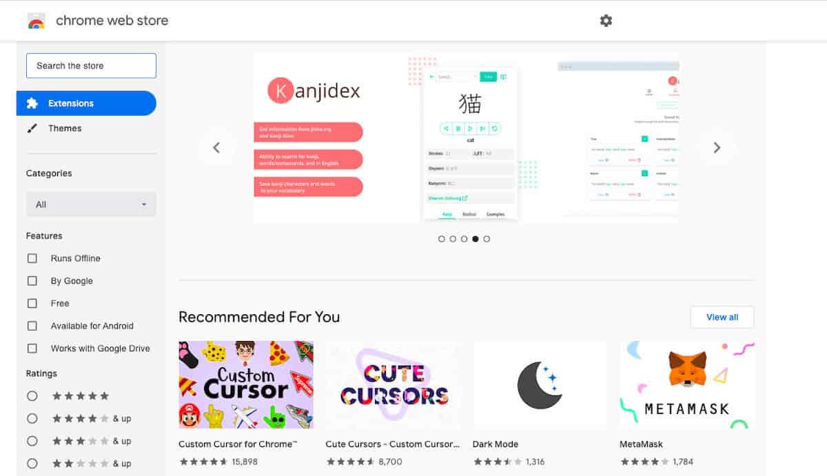 Google Chrome Web Store featuring Kanjidex Chrome app