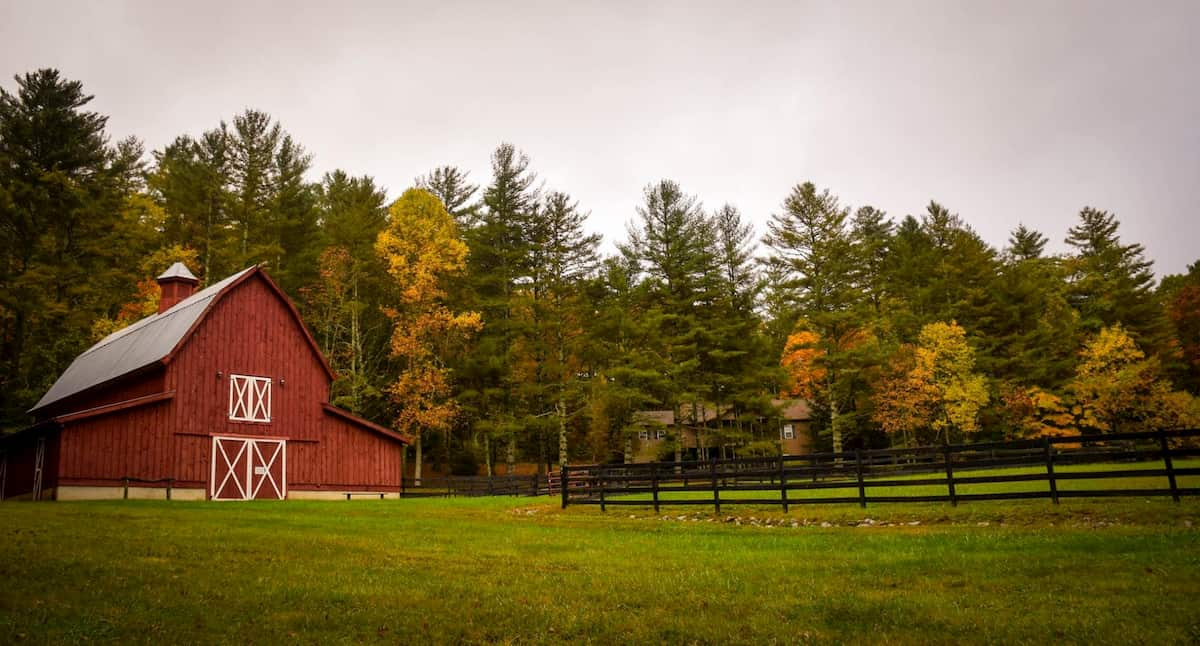 A red barn in front of a forest and yard