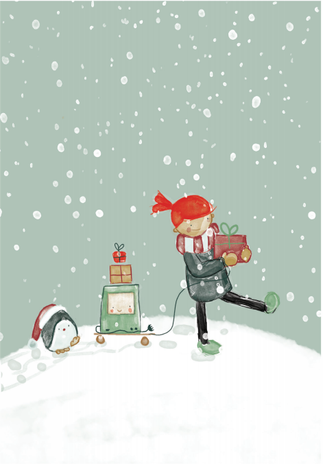Christmas card with Ruby, computer and Tux walking in snowfall