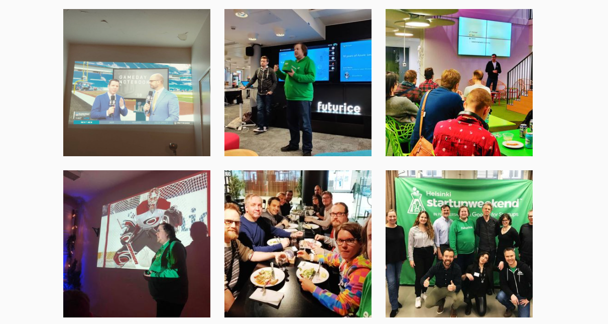 A collage of pictures from various developer events with people and screens