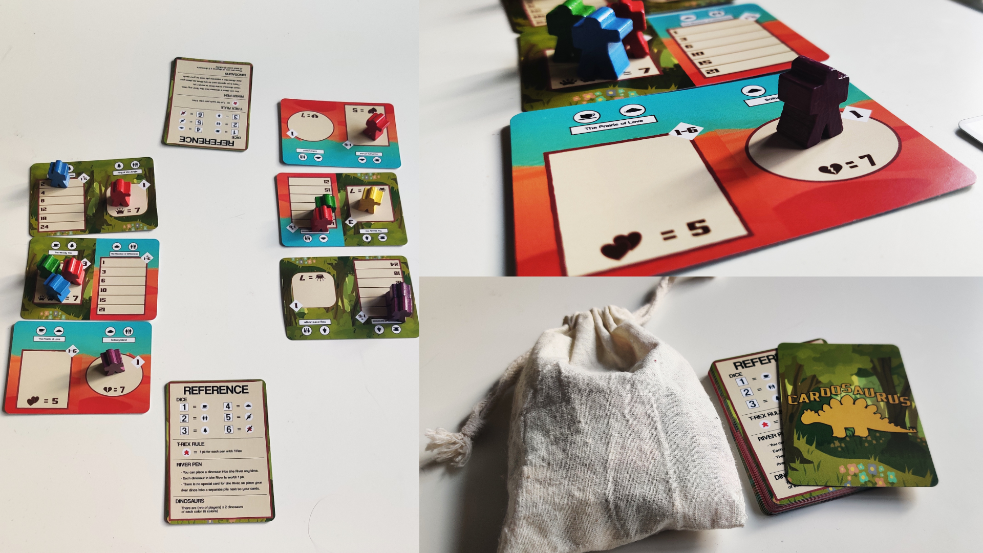 Collage of three pictures: left showing a two player game with 6 cards and some meeples, top right showing a close up of a meeple on a card and bottom right with cloth bag and pile of cards